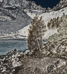 Lake Sorapiss in grafic. Dolomites Italy